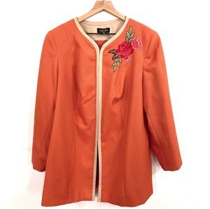 Isabella Floral Embroidered Coral Textured Jacket